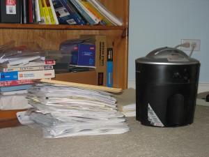 Paper, meet shredder. Shredder, meet paper.