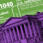 1040 tax form and federal governement building
