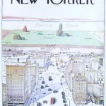 New Yorker cover cartoon looking west from Manhattan to the Pacific Ocean